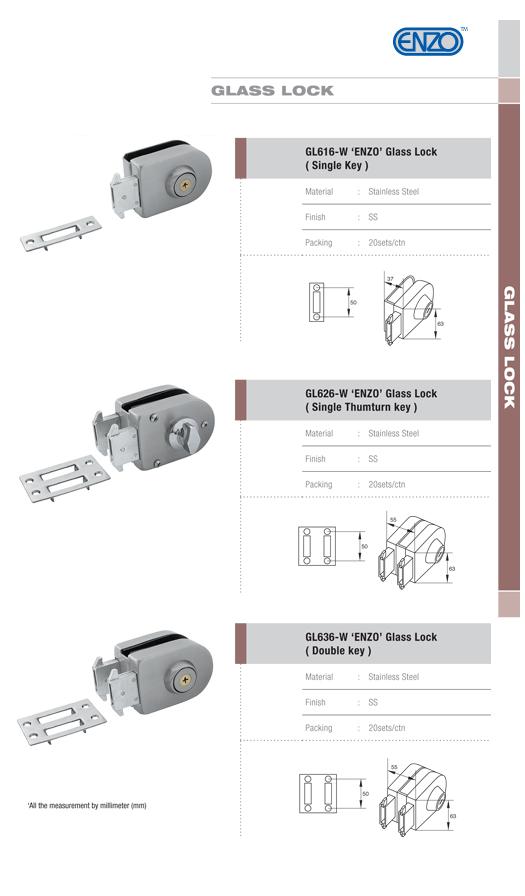 GL 616W 'ENZO' Glass Lock (Single Key)
